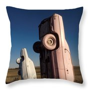 A Pink Caddilac in the Morning Throw Pillow by Jerry McElroy