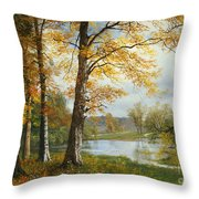 A Quiet Lake Throw Pillow by Albert Bierstadt