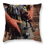 A Rock Climber Check Her Gear Throw Pillow by Bill Hatcher