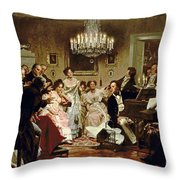 A Schubert Evening In A Vienna Salon Throw Pillow by Julius Schmid