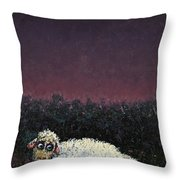 A Sheep In The Dark Throw Pillow by James W Johnson