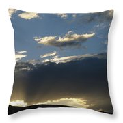 A Silhouetted Figure Trail Running Throw Pillow by Bobby Model