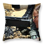 A Soldier Fires An M240b Medium Machine Throw Pillow by Stocktrek Images