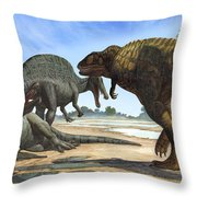 A Spinosaurus Blocks The Path Throw Pillow by Sergey Krasovskiy