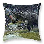 A Suchomimus Snags A Shark From A Lush Throw Pillow by Walter Myers