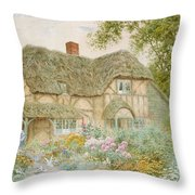 A Surrey Cottage Throw Pillow by Arthur Claude Strachan