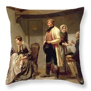 A Toast To The Engaged Couple Throw Pillow by Carl Wilhelm Huebner