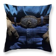 A View Of A Cowboys Prized Possesion Throw Pillow by Taylor S. Kennedy