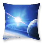 A View Of A Planet As It Looms In Close Throw Pillow by Kevin Lafin