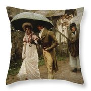A Wet Sunday Morning Throw Pillow by Edmund Blair Leighton