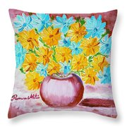 A Whole Bunch Of Daisies Throw Pillow by Ramona Matei