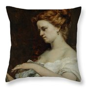 A Woman with Jewellery Throw Pillow by Gustave Courbet