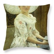 A Young Beauty In A White Hat  Throw Pillow by Franz Xaver Simm