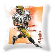 Aaron Rodgers Scrambles Throw Pillow by Maria Arango