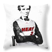 Abe Lincoln In A Dwyane Wade Jersey Throw Pillow by Roly Orihuela