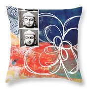 Abstract Buddha Throw Pillow by Linda Woods