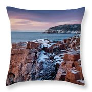 Acadian Cliffs Winter Sunrise 1 Throw Pillow by Susan Cole Kelly