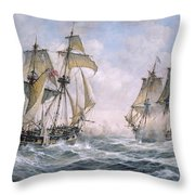 Action Between U.s. Sloop-of-war 'wasp' And H.m. Brig-of-war 'frolic' Throw Pillow by Richard Willis
