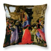 Adoration of the Magi Throw Pillow by Sandro Botticelli