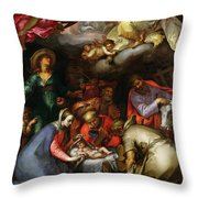 Adoration of the Shepherds Throw Pillow by Abraham Bloemaert