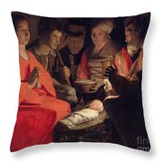Adoration Of The Shepherds Throw Pillow by Georges de la Tour