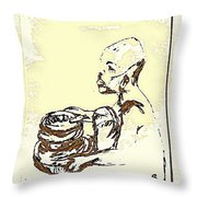 African Boy Brown Throw Pillow by Sheri Parris