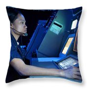 Air Traffic Controller Monitors Marine Throw Pillow by Stocktrek Images