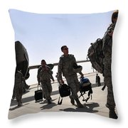 Airmen Arrive In Iraq In Support Throw Pillow by Stocktrek Images