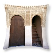 Alhambra Door And Stairs Throw Pillow by Jane Rix