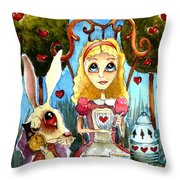 Alice And The Rabbit Having Tea... Throw Pillow by Lucia Stewart