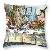 Alices Mad-tea Party, 1865 Throw Pillow by Granger
