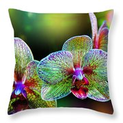 Alien Orchids Throw Pillow by Bill Tiepelman