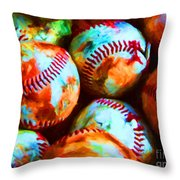 All American Pastime - Pile Of Baseballs - Painterly Throw Pillow by Wingsdomain Art and Photography