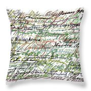 All The Presidents Signatures Green Sepia Throw Pillow by Tony Rubino