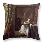 Allegory of the Faith Throw Pillow by Jan Vermeer