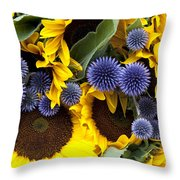 Allium And Sunflowers Throw Pillow by Jane Rix