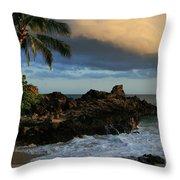 Aloha Naau Sunset Paako Beach Honuaula Makena Maui Hawaii Throw Pillow by Sharon Mau