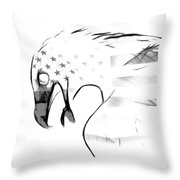 American Eagle Black And White Throw Pillow by Melanie Viola
