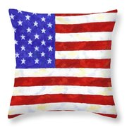 American Flag Throw Pillow by Linda Mears