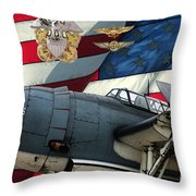 An American Tbf Avenger Pof Throw Pillow by Tommy Anderson