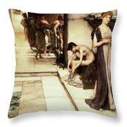 An Apodyterium Throw Pillow by Sir Lawrence Alma-Tadema