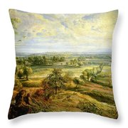 An Autumn Landscape With A View Of Het Steen In The Early Morning Throw Pillow by Rubens
