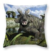 An Estemmenosuchus Mirabilis Stands Throw Pillow by Walter Myers