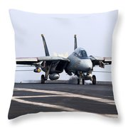 An F-14d Tomcat Makes An Arrested Throw Pillow by Gert Kromhout