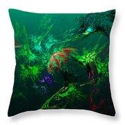 An Octopus's Garden Throw Pillow by David Lane