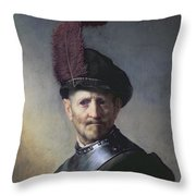 An Old Man in Military Costume Throw Pillow by Rembrandt