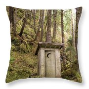 An Outhouse In A Moss Covered Forest Throw Pillow by Michael Melford