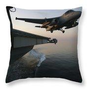An S-3b Viking Clears The Flight Deck Throw Pillow by Stocktrek Images