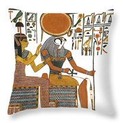 Ancient Egyptian Gods Hathor And Re Throw Pillow by Ben  Morales-Correa