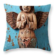 Angel On Blue Wooden Wall Throw Pillow by Garry Gay